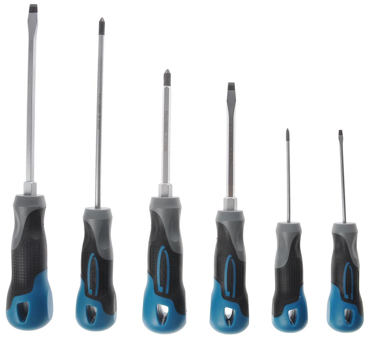 Набор отверток Gross, 6 штCA-3505Отвертки торговой марки Gross изготовлены из высококачественной инструментальной стали S2, имеют намагниченный наконечник.Предназначены отвертки для монтажа/демонтажа резьбовых соединений с типом шлица: SL3.0, SL5.5, SL6.5 (плоская отвертка) и PH0, PH1, PH2 (крестовая отвертка).Стержни закалены индукционными токами и покрыты хромовым защитным слоем.Эргономичные трехкомпонентные рукоятки изготовлены методом цельного литья, что придает прочность сцепления стержня и рукоятки.У основания рукояток имеется шестигранные выступы для работы с гаечным ключом на 10 мм.Упакованы отвертки в подвесную ламинированную коробку, удобную для размещения на стенде.