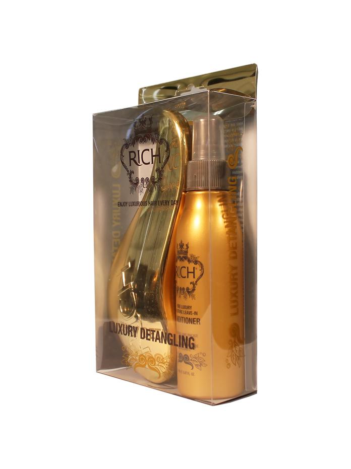 Rich Набор Атласный блеск: несмываемый кондиционер 150 мл с золотой щеткойMP59.3DУвлажняющий кондиционер без смывания для ежедневного ухода 150 мл. Щетка для волос золотая