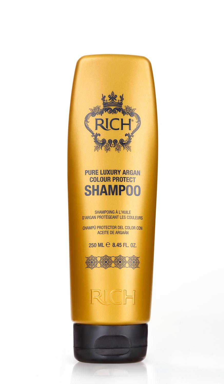 Rich Шампунь для окрашенных волос на основе арганового масла, 250 млFS-00897Шампунь на основе Арганового масла защищает цвет окрашенных волос, питает и увлажняет. Восстанавливает поврежденную структуру волос после химических процедур и укладки горячими приборами