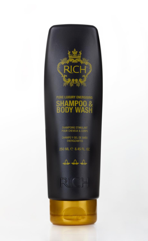 Rich Тонизирующий шампунь для волос и тела, 250 мл390800Шампунь и гель 2 в 1. Интенсивно увлажняет волосы и тело. Масло мяты, входящее в состав шампуня и геля, оставляет ощущение чистоты, свежести и бодрости на весь день.