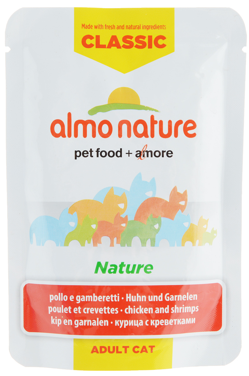 Консервы для взрослых кошек Almo Nature Classic. Nature, с курицей и креветками, 55 г59898Консервы Almo Nature Classic. Nature - это корм, рекомендованный взрослым кошкам. Угощениеизготавливается из свежих и натуральных ингредиентов, которые были упакованы сырыми, затем стерилизованы, чтобы сохранить питательные вещества и вкус. Ваш питомец будет в полном восторге.Не содержит сои, консервантов, ароматизаторов, искусственных красителей, усилителей вкуса.Товар сертифицирован.