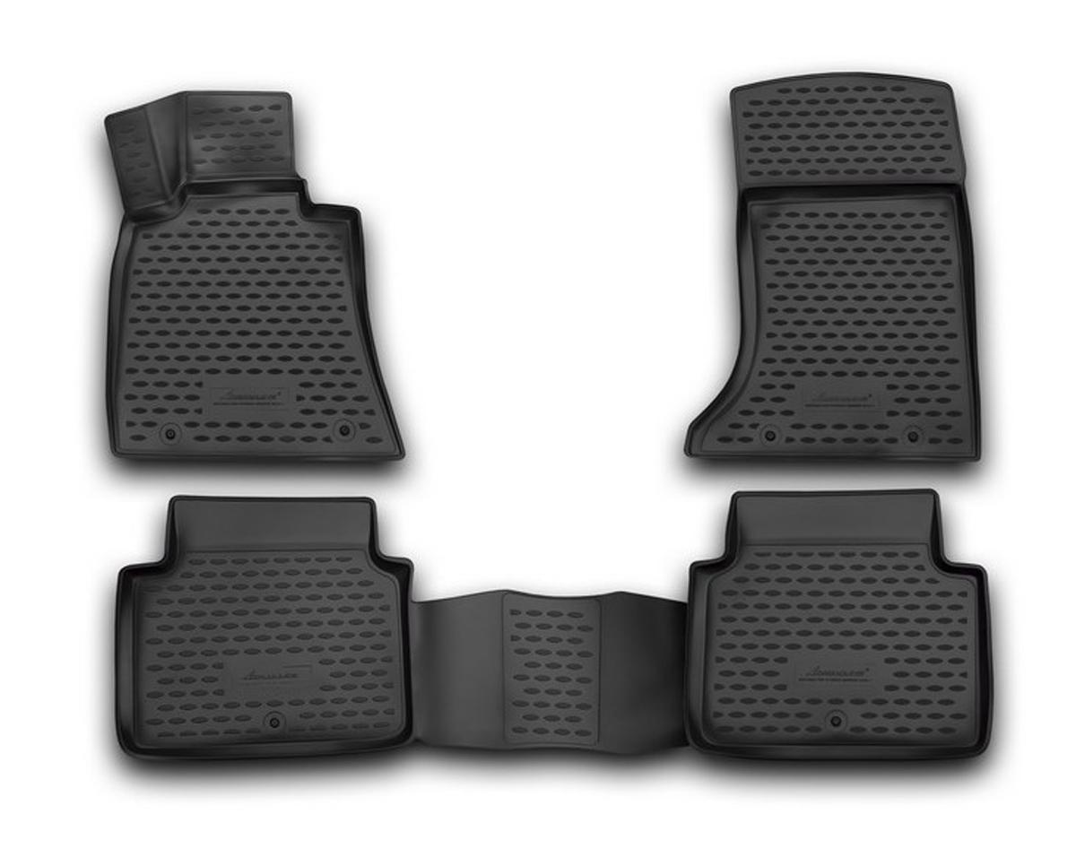 Набор автомобильных 3D-ковриков Novline-Autofamily для Hyundai Genesis, 2014->, в салон, 4 штCA-3505Набор Novline-Autofamily состоит из 4 ковриков, изготовленных из полиуретана.Основная функция ковров - защита салона автомобиля от загрязнения и влаги. Это достигается за счет высоких бортов, перемычки на тоннель заднего ряда сидений, элементов формы и текстуры, свойств материала, а также запатентованной технологией 3D-перемычки в зоне отдыха ноги водителя, что обеспечивает дополнительную защиту, сохраняя салон автомобиля в первозданном виде.Материал, из которого сделаны коврики, обладает антискользящими свойствами. Для фиксации ковров в салоне автомобиля в комплекте с ними используются специальные крепежи. Форма передней части водительского ковра, уходящая под педаль акселератора, исключает нештатное заедание педалей.Набор подходит для Hyundai Genesis с 2014 года выпуска.