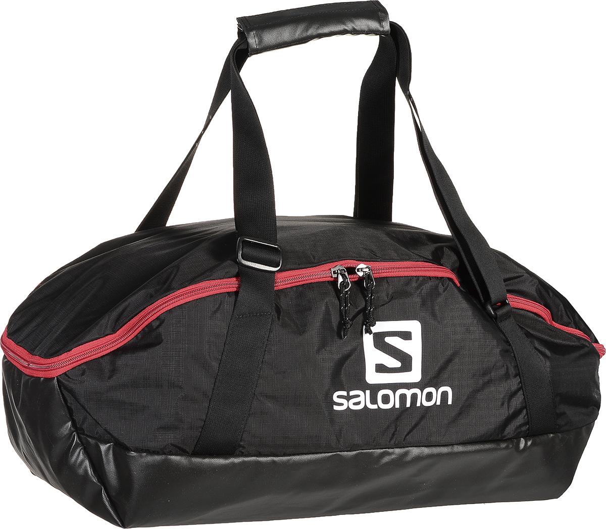 Сумка спортивная Salomon Prolog 40 Bag, цвет: черный, 40 л. L3799280023008Сумка Salomon Prolog 40 Bag выполнена из полиэстера и оформлена принтом с изображением логотипа бренда. Изделие оснащено удобными широкими ручками, длину которых можно регулировать с помощью пряжек. Сумка и закрывается на двухходовую застежку-молнию. Внутри расположено вместительное отделение, которое содержит два вшитых кармана на молнии. Также внутри расположено второе отделение с покрытием, не пропускающим воду и вставкой из сетки для вентиляции.