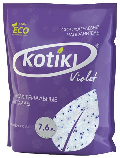 Наполнитель для кошачьего туалета Kotiki Violet Антибактериальные кристаллы, силикагелевый, 7,6 л00000000011Наполнитель для кошачьего туалета Kotiki Violet Антибактериальные кристаллы предотвращает размножение бактерий, моментально блокирует всю влагу и неприятные запахи. Не прилипает к лапам и шерсти животного, экономичен в использовании, не вызывает аллергию.