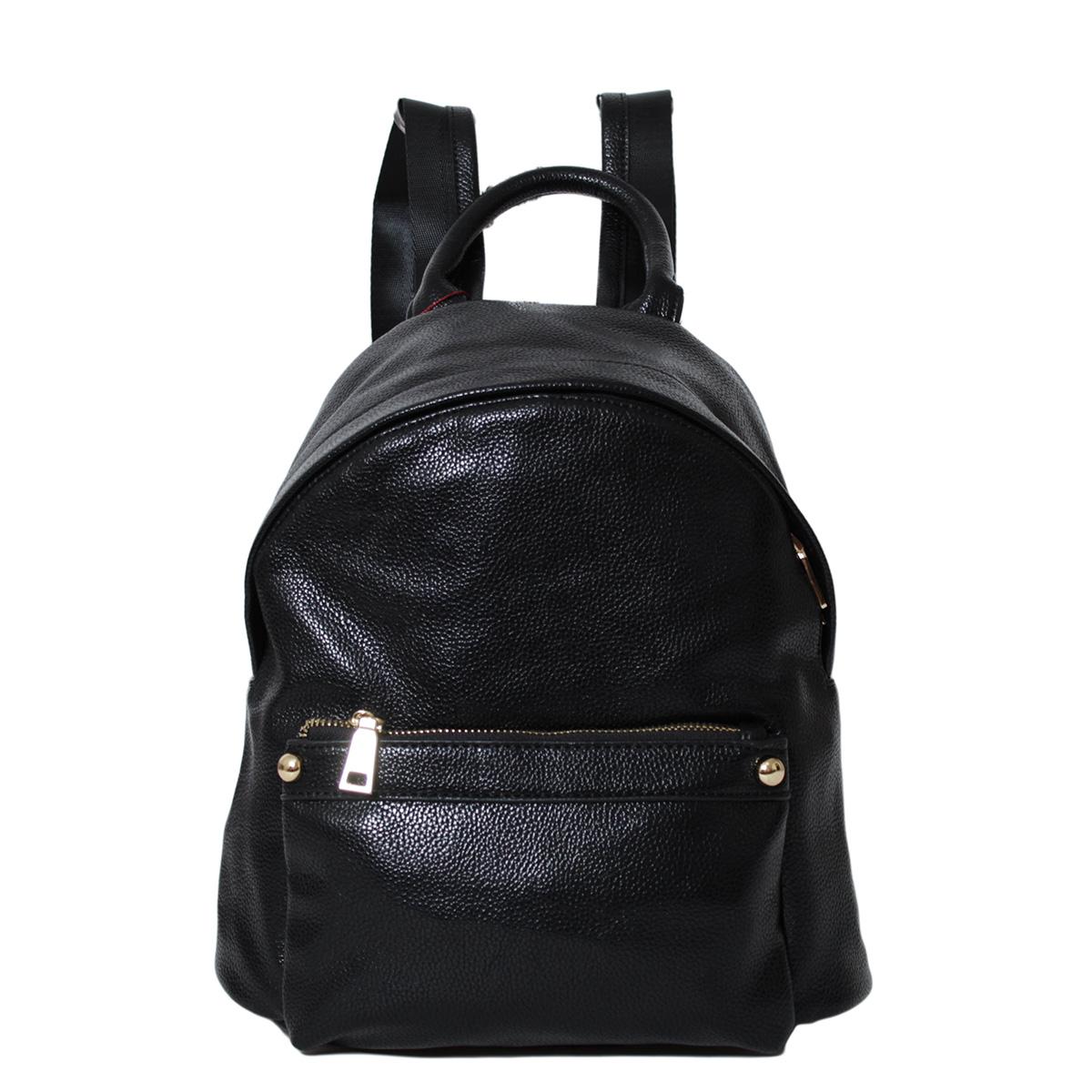 Рюкзак женский Flioraj, цвет: черный. 00052455S76245Рюкзак Flioraj выполнен из высококачественной искусственной кожи. Изделие оснащено ручкой для подвешивания и удобными лямками. На лицевой стороне расположен карман на молнии. Рюкзак закрывается на молнию. Внутри расположено главное вместительное отделение, которое содержит один небольшой карман на молнии и один открытый накладной карман для мелочей.