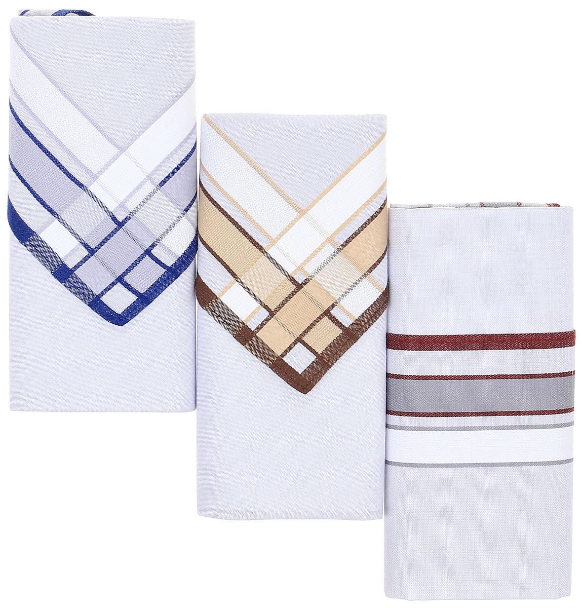 Платок носовой мужской Zlata Korunka, цвет: мультиколор, 3 шт. М54В. Размер 39 х 39 см39864 Серьги с подвескамиНосовые платки изготовлены из натурального хлопка, приятны в использовании, хорошо стираются, материал не садится и отлично впитывает влагу. В упаковке 3 штуки.