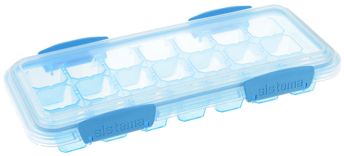 Контейнер для льда Sistema KLIP IT, большой, цвет: голубой, 21 ячейкаVT-1520(SR)Контейнер Sistema KLIP IT предназначен для приготовления 21 кубика льда. На крышке имеется прорезиненный обод, который способствует более герметичному закрыванию, в связи с чем продукты дольше сохраняют свои свойства. Контейнер оснащен фиксирующимися зажимами - клипсами, которые при необходимости можно будет заменить.Размер контейнера: 27,5 х 12,5 х 4,3 см.