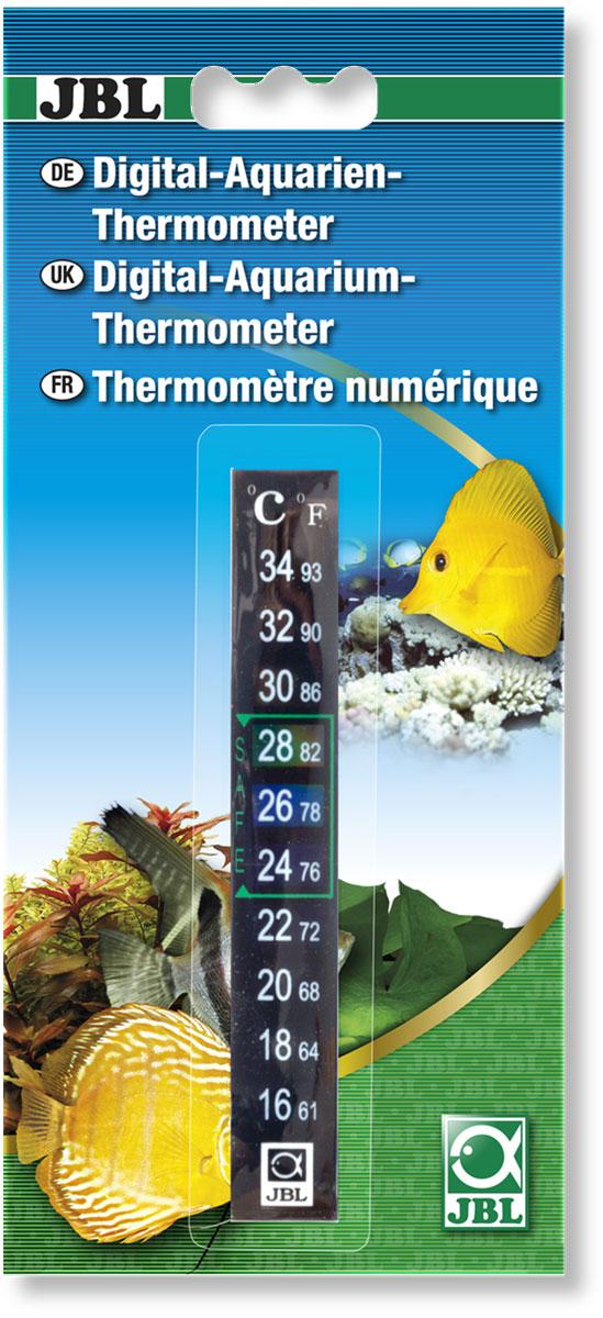 Термометр аквариумный JBL Digitalthermometer, цифровой, на клеевой основе, длина 13 см0120710Термометр JBL Digitalthermometer предназначен для измерения температуры воды в аквариуме. Термометр крепится к стенке аквариума на ровную поверхность клеевой основы. Удобная шкала, позволяет легко считывать показания. Измеряемая температура от 16°C до +34°C и +61°F до +93°F.Длина термометра: 13 см.