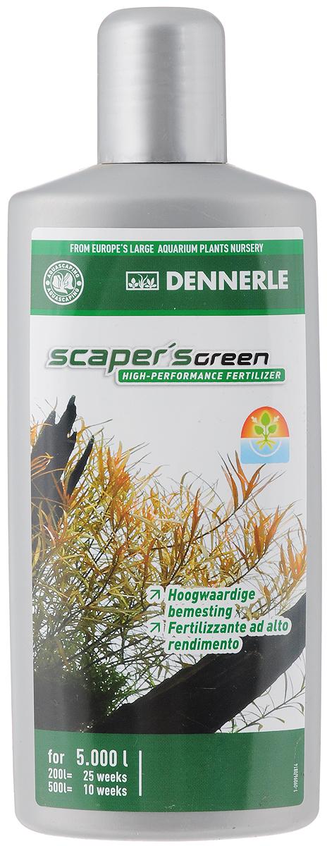 Удобрение для аквариумных растений Dennerle Scapers Green, 500 млDEN4532Удобрение для аквариумных растений Dennerle Scapers Green разработано специально для акваскейпинга. Удобрение идеально подходит для аквариумов с сильным освещением и большим количеством растений, а также для аквариумов с незначительным количеством рыб. Содержит все важные питательные вещества и минералы. Способствует образованию свежей ярко-зеленой листвы. Предотвращает появление желтых полупрозрачных листьев. Усиливает окраску красных и красно-коричневых листьев. Не содержит фосфаты и нитраты.Дозировка: еженедельно 10 мл (1/3 крышечки) на 100 л аквариумной воды.
