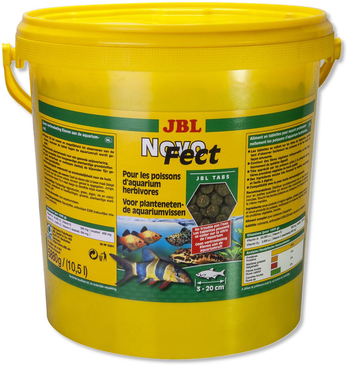Корм JBL NovoFect, для растительноядных рыб, в таблетках, 5,88 кг (10,5 л)0120710Корм JBL NovoFect содержит все компоненты в специально сбалансированной смеси с высоким содержанием растительных веществ, которые отвечают потребностям донных рыб и рыб, обитающих в средней зоне, питающихся преимущественно растительной пищей.Прикрепив таблетку в любом месте к стеклу аквариума, вы обеспечите рыб, обитающих в средних слоях воды, кормом и можете наблюдать за ними в процессе поедания корма. Просто опустив таблетку на дно аквариума, вы обеспечите кормом сомов и других донных рыб.Состав: зерновые, водоросли, рыба и рыбные побочные продукты, моллюски и ракообразные, овощи, экстракт растительного белка.Анализ: протеин 35%, жир 5%, клетчатка 5%, чистая зола 8%.Товар сертифицирован.