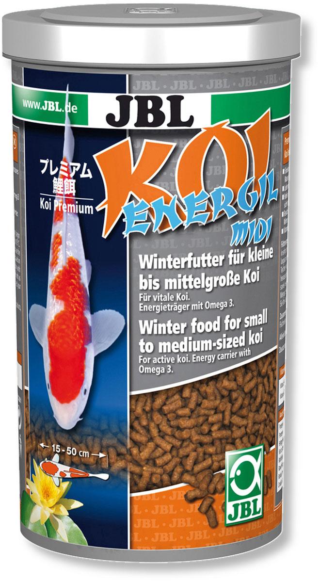 Корм JBL Koi Energil Midi для карпов Кои, в форме палочек, 600 г (1 л)0120710JBL Koi Energil Midi - корм в форме палочек среднего размера предназначен для кормления карпов Кои размером 15-35 см в холодное время года.Так как карпы Кои питаются при низкой температуре на глубине, палочки корма тонут. Корм способствует предотвращению заболеваний рыб, типичных для весеннего периода. Высокая доля энергетических веществ в виде рыбьего жира (10%) с ненасыщенными жирными кислотами Омега-3 помогают рыбам пережить холодное время года.Корм предназначен для рыб длиной: 15-50 см. Рекомендации по кормлению: 2-3 раза в день в количестве, которое съедается рыбками за 2-3 минуты. Состав: растительные побочные продукты, масла и жиры, рыба и рыбные побочные продукты, моллюски и ракообразные, злаки. Анализ: белки - 19%, жир - 14%, клетчатка - 1,5%, зола - 6%. Содержание витаминов на 1 кг: Витамин А 25000 I.E., Витамин D3 2000 I.E., Витамин Е 300 мг, Витамин C (стабильный) 400 мг. Диаметр палочек корма: 4 мм.Товар сертифицирован.