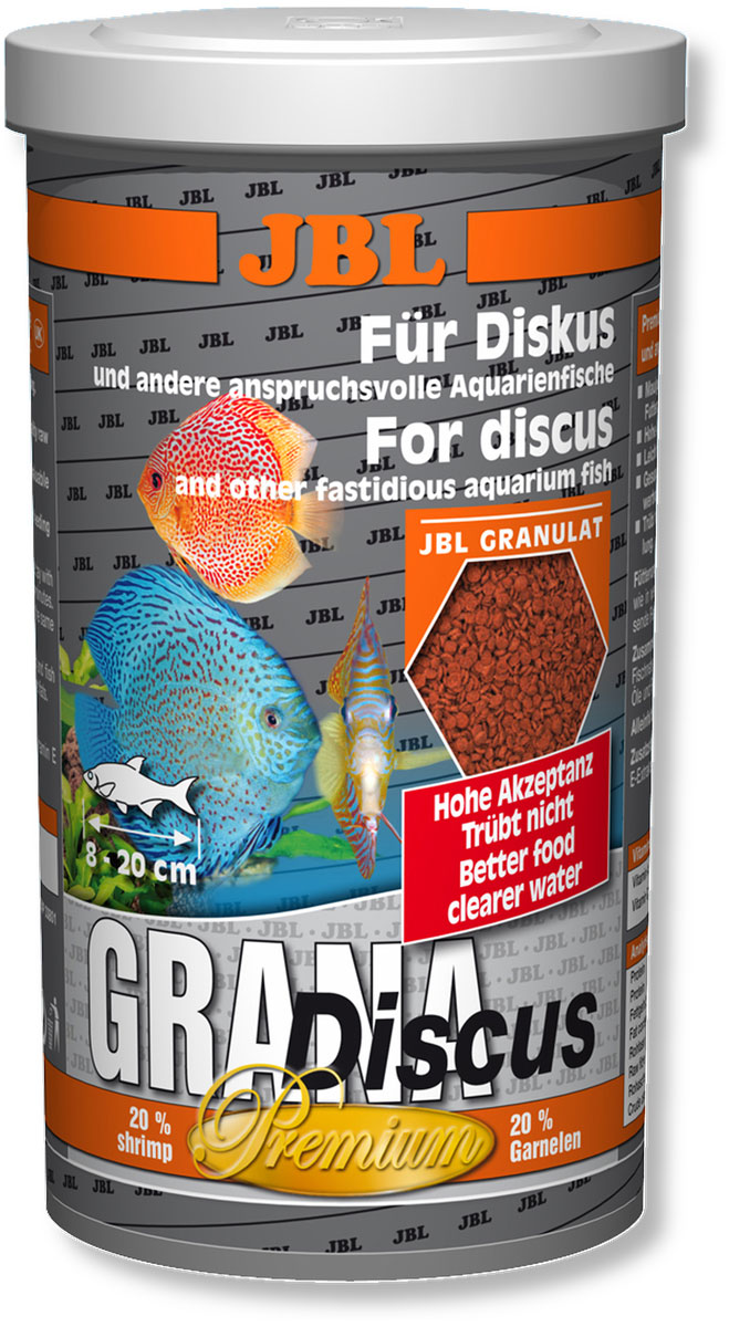 Корм для дискусов JBL Grana Discus, в форме гранул, 440 г (1 л)JBL4052100Корм JBL Grana Discus представляет собой богатые питательными веществами гранулы для дискусов и других разборчивых в питании аквариумных рыб, таких как маленькие пестрые окуни, скалярии и другие декоративные рыбы. Гранулы уходят под воду с различной скоростью, благодаря чему корм могут получать рыбы, находящиеся в различных слоях аквариума. Комбинация протеинов, жиров и углеводов, а также минералов и микроэлементов, подобранная специально под питательные потребности указанной группы рыб, поддерживает их рост. Каротиноиды, а также жизненно важные витамины заботятся о естественной яркости окраски и укрепляют здоровье рыб. Содержит 20% креветок.Корм предназначен для рыб длиной 8-20 см. Рекомендации по кормлению: 2-3 раза в день в количестве, которое съедается рыбами за 2-3 минуты. Состав: моллюски и ракообразные, злаки, овощи, растительные побочные продукты, масла и жиры, рыба и рыбные побочные продукты. Анализ: протеин - 43%, жир - 7%, клетчатка - 2,5%, зола - 7%. Содержание витаминов в 1 кг: Витамин А 25000 I.E., Витамин D3 2000 I.E., Витамин Е 330 мг, Витамин C 400 мг. Товар сертифицирован.