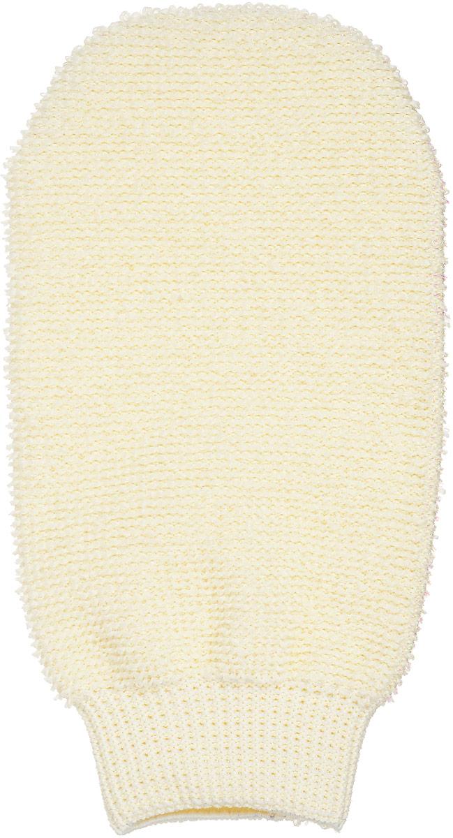 Мочалка-рукавица массажная Riffi, двухсторонняя, цвет: молочный щетка массажная для тела riffi со съемной ручкой цвет молочный