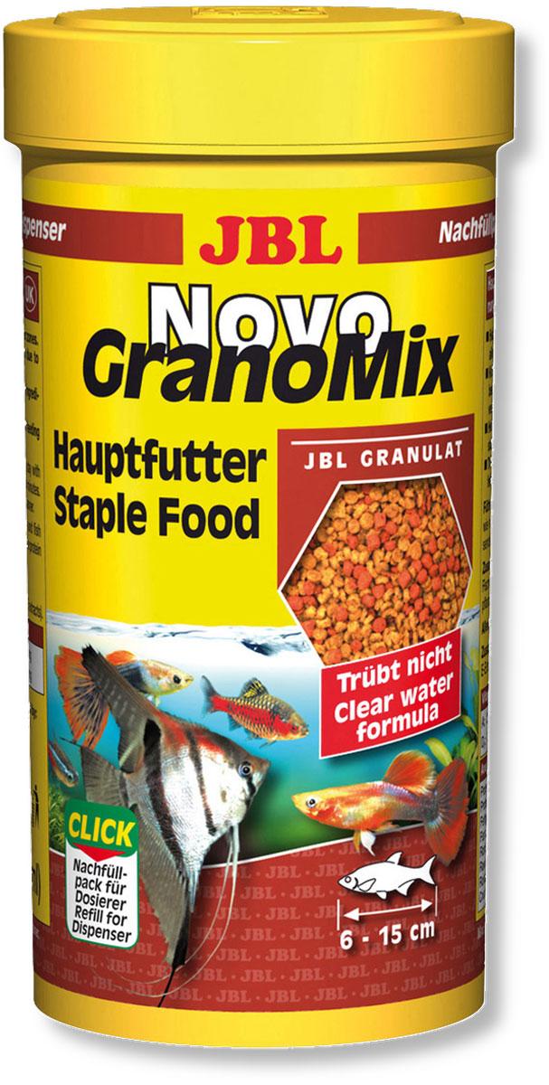 Корм JBL NovoGranoMix Refill для рыб, в форме смеси гранул, 250 мл (115 г)0120710Корм JBL NovoGranoMix Refill представляет собой гранулы с высоким содержанием питательных элементов, изготовленные по щадящей технологии с использованием кратковременного высокотемпературного нагревания. Часть гранул медленно погружается под воду, а часть некоторое время плавает на поверхности. Это дает возможность кормить рыб, находящихся в различных зонах аквариума.Четко выверенная комбинация из всех важных компонентов, таких как белки, жиры и углеводы, а также жизненно важные минералы и витамины обеспечивают здоровый рост и повышенную сопротивляемость болезням. Идеальный размер корма для рыб от 6 до 15 см.Рекомендации по кормлению: два или три раза в день порциями, которые могут быть съедены рыбами в течение нескольких минут. Мальков, естественно, чаще. Замечательно подходит для автоматических кормушек. Состав: белок 38%, жир 6%, клетчатка 4%, зола 9%, фосфор 0,9%. Содержание витаминов в 1000 г.: витамин А 25000 i.E., витамин D3 3000 i.E., витамин Е 330 мг., Витамин С 400 мг. Вес: 115 г. Товар сертифицирован.