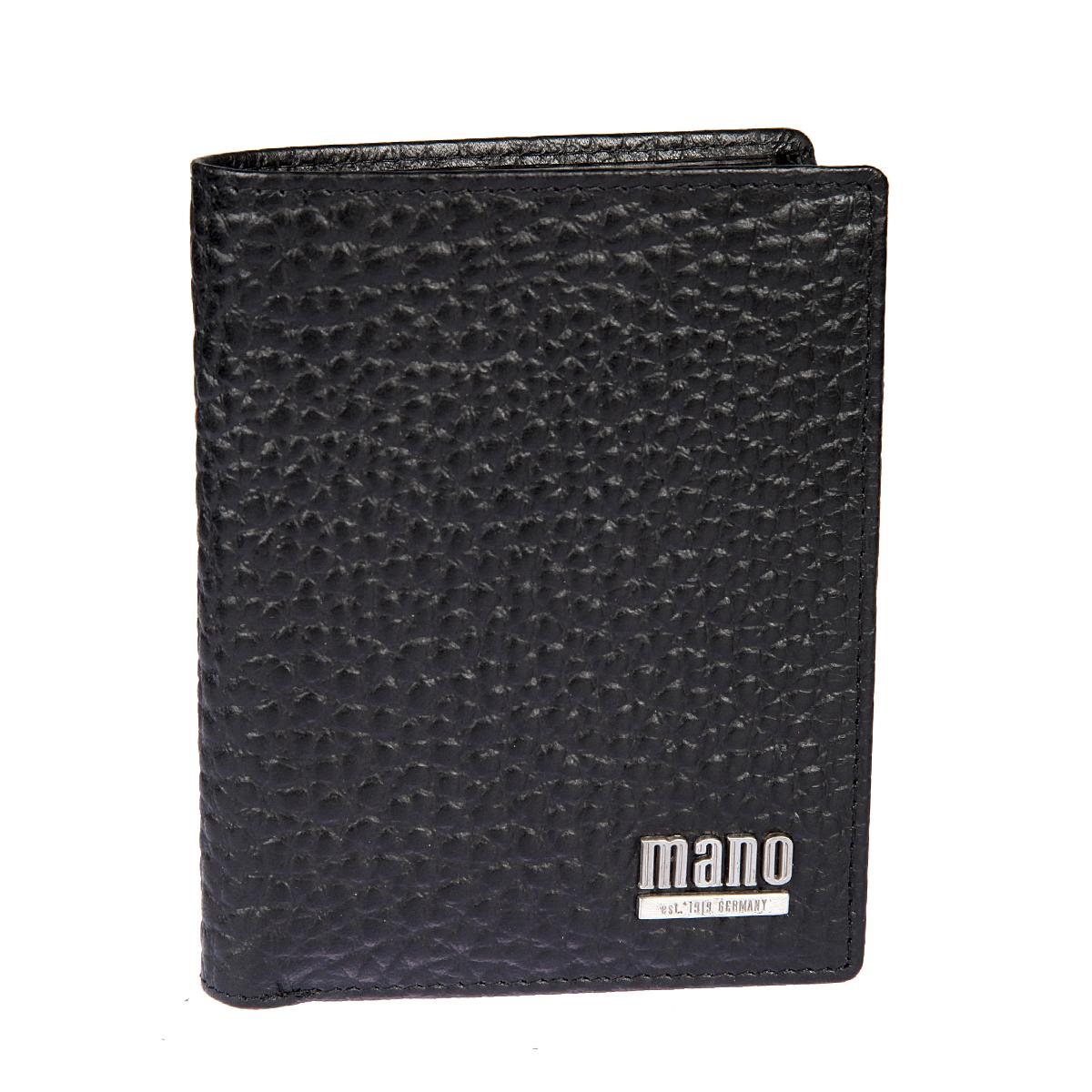 Портмоне мужское Mano, цвет: черный. 1953777-080-06Портмоне мужское Mano выполнено из натуральной кожи. Модель раскладывается пополам, внутри два отдела для купюр, карман для мелочи на кнопке, сетчатый карман, восемь кармашков для, пластиковых карт, три потайных кармана.