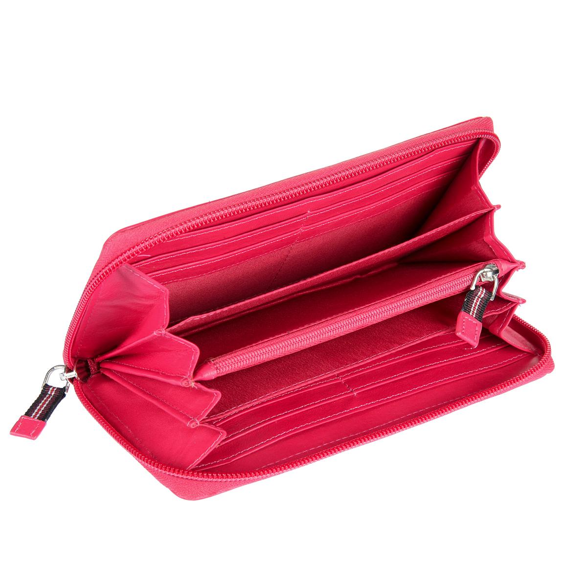 Кошелек женский Mano, цвет: розовый. 20102 SetruBM8434-58AEКошелек женский Mano выполнен из натуральной кожи. Модель закрывается по периметру на молнию, внутри четыре отдела для купюр, карман для мелочи на молнии, два кармана для документов, восемь кармашков для пластиковых карт.