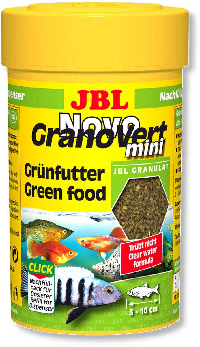 Корм JBL NovoGranoVert mini Refill для маленьких аквариумных рыб, в форме мини-гранул, 100 мл (40 г)0120710Корм JBL NovoGranoVert mini Refill содержит высокоценное природное сырье, а также растительные волокна, которые подобраны специально для аквариумных рыб, питающихся растениями. Корм изготовлен по сберегающей технологии высокотемпературного нагрева и содержит большое количество питательных элементов.Часть гранул медленно погружается под воду, а часть некоторое время плавает на поверхности. Это дает возможность кормить рыб, находящихся в различных зонах аквариума. Четко выверенная комбинация из всех важных компонентов, таких как белки, жиры и углеводы, а также жизненно важные минералы и витамины обеспечивают здоровый рост рыб и повышенную сопротивляемость болезням. Идеальный размер корма для рыб от 3 до 10 см. Рекомендации по кормлению: два или три раза в день в таком количестве, которое может быть съедено рыбами в течение нескольких минут. Замечательно подходит для автоматических кормушек. Состав: белок 30%, жир 4%, клетчатка 6%, зола 9%, фосфор 0,9%. Содержание витаминов в 1000 г.: витамин А 25000 i.E., витамин D3 3000 i.E., витамин Е 330 мг., витамин С 400 мг. Вес: 40 г.Товар сертифицирован.