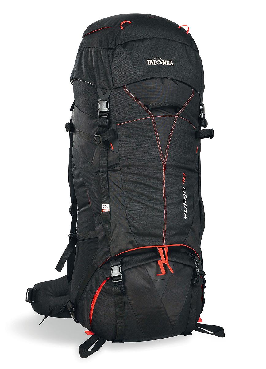 Рюкзак туристический Tatonka Yukon 70, цвет: черный1402.040Высокотехнологичный рюкзак Tatonka Yukon 70 предназначен для продолжительных походов. Регулируемая система подвески V2 оптимально распределяет нагрузку на бедра. Спинка с мягкой подкладкой, обтянутая терморегулирующей сеточкой Airmesh, обеспечивает комфорт и вентиляцию при длительных переходах. Особенности рюкзака:Подвеска V2.Регулируемая крышка-клапан.Мягкие регулируемые лямки и набедренный пояс.Дополнительный доступ в основное отделение.Большой передний карман на молнии.Боковые карманы.Боковые стяжки.Ручки для переноски.Крепление для ледоруба.Дождевой чехол.Отделение для питьевой системы.Отделение для аптечки.Держатель для ключей.