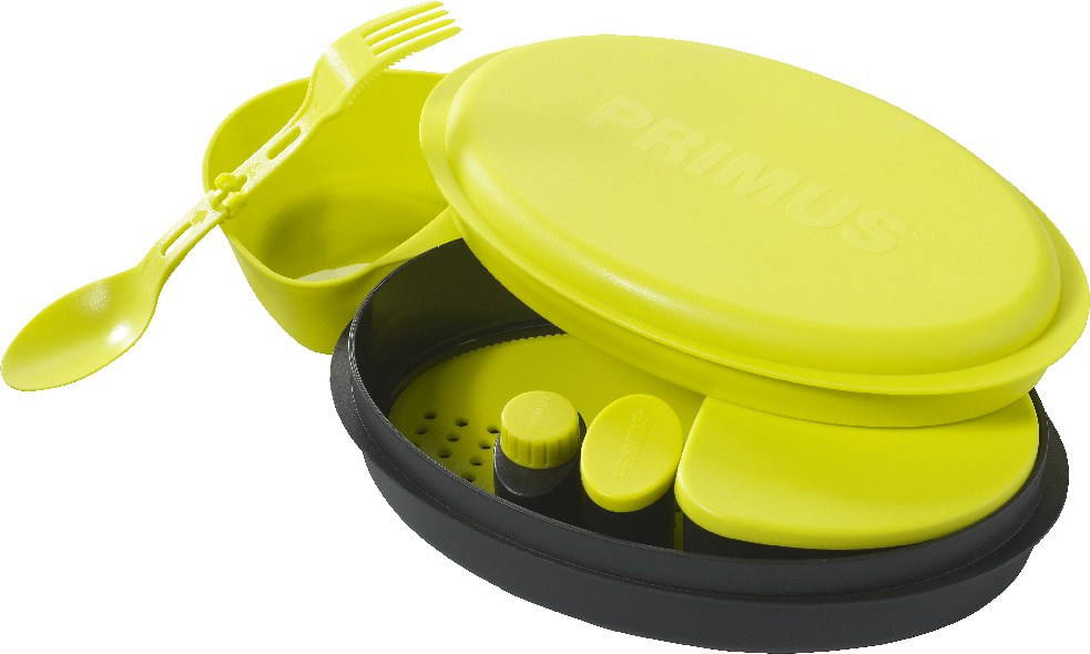 Набор посуды Primus Meal Set, цвет: желтый, 8 предметов737854Набор посуды Primus Meal Set включает в себя все необходимое: 2 контейнера для еды, баночка для специй, баночка для жидкостей, разделочная доска, сочетающая в себе дуршлаг, терку и нож, складная ложка-вилка. Этот набор необходим каждому, кто собирается в поход, небольшой отдых за городом или пикник в парке.