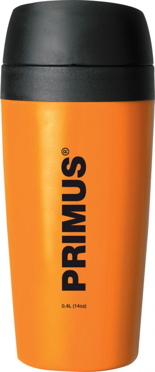 Термокружка Primus Commuter Mug, цвет: оранжевый, 400 мл737909Термокружка Primus Commuter Mug 0,4 L — двустенная кружка из нержавеющей стали объемом 0,4 литра с защитой от проливания. Кружка сохранит напитки холодными или горячими, независимо от направления движения. Благодаря силиконовым соединениям, напитки не проливаются. Кружка открывается простым нажатием на клапан.