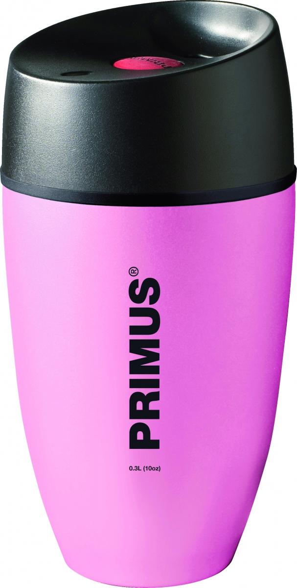 Термокружка Primus Commuter Mug, цвет: розовый, 300 мл737914На крышке термокружки расположены плотные силиконовые уплотнители, благодаря которым жидкость не проливается. Удобная герметичная крышка изготовлена из термостойкого пластика и имеет специальное отверстие для питья. Яркая кнопка выполняет функцию клапана: при одном нажатии кружка открыта и из нее можно пить, при следующем нажатии питьевое отверстие закрывается. Отвинчивающаяся крышка позволяет легко ухаживать за кружкой либо засыпать внутрь чай. Кружку удобно удерживать рукой. Кроме того, она отлично поместится в подставке для стаканов в салоне автомобиля.Объем кружки: 300 мл.