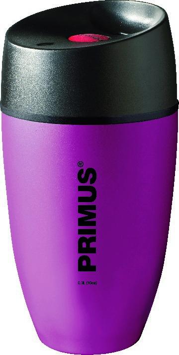 Термокружка Primus Commuter Mug, цвет: фиолетовый, 300 мл737915На крышке термокружки расположены плотные силиконовые уплотнители, благодаря которым жидкость не проливается. Удобная герметичная крышка изготовлена из термостойкого пластика и имеет специальное отверстие для питья. Яркая кнопка выполняет функцию клапана: при одном нажатии кружка открыта и из нее можно пить, при следующем нажатии питьевое отверстие закрывается. Отвинчивающаяся крышка позволяет легко ухаживать за кружкой либо засыпать внутрь чай. Кружку удобно удерживать рукой. Кроме того, она отлично поместится в подставке для стаканов в салоне автомобиля.Объем кружки: 300 мл.