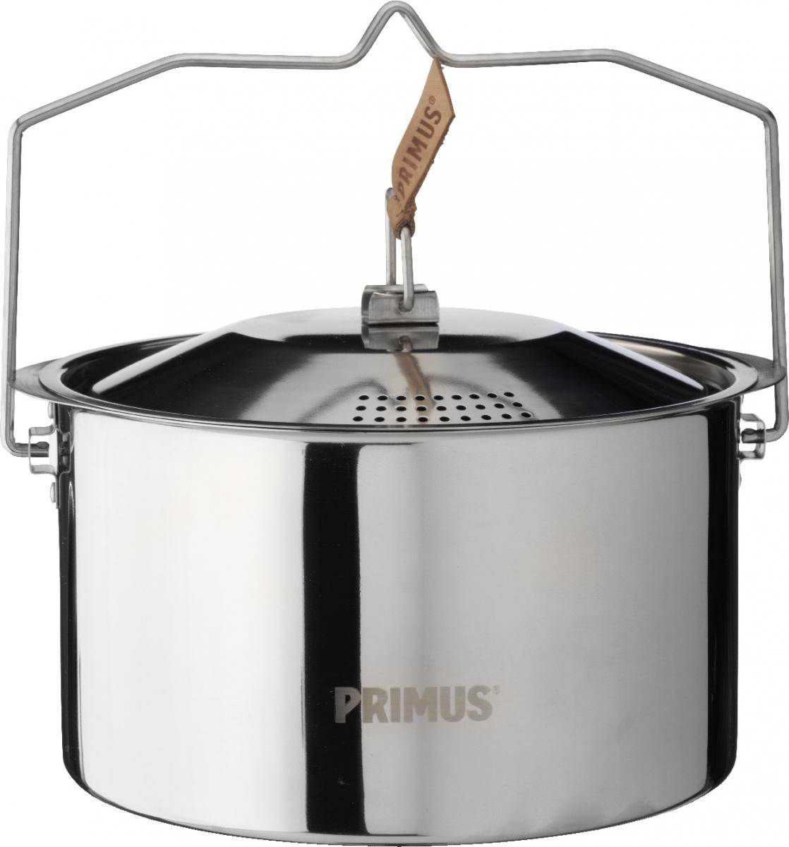 Кастрюля Primus CampFire Pot S/S, цвет: серый, 3 лW10303Campfire Pot S/S - 3L – прочная кастрюля из нержавеющей стали со складной ручкой и крышкой с отверстиями для слива воды для использования на открытом огне. Идеальный, простой и практичный вариант для больших путешествий. Чехол в комплекте.
