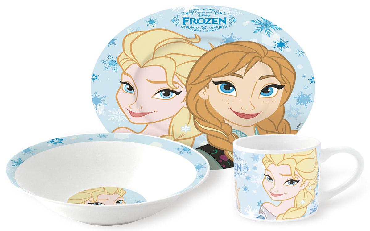 Disney Frozen Набор детской посуды 3 предмета115010Набор детской посуды Disney Frozen, 3 предмета: кружка 210 мл, миска 18 см, тарелка 19 см.