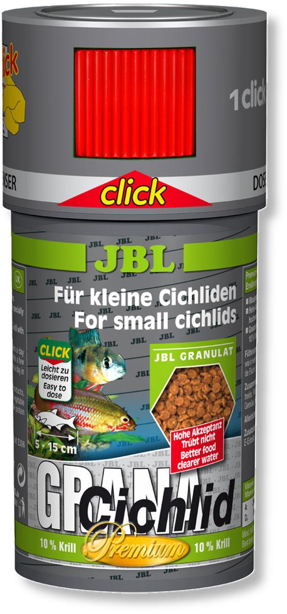 Корм JBL GranaCichlid Click для плотоядных цихлид, в форме гранул, 250 мл (110 г)0120710Корм для рыб JBL GranaCichlid Click - медленно тонущие гранулы для плотоядных цихлид среднего размера. Животные компоненты корма состоят преимущественно из рыбного белка, 10% криля обеспечивает оптимальное пищеварение, поэтому корм не загрязняет воду. Корм произведен по технологии высокотемпературной обработки сырья. Гранулы опускаются под воду с различной скоростью, благодаря чему этот корм доступен для рыб, живущих в различных зонах аквариума. Высокое содержание питательных элементов и легкая перевариваемость способствуют быстрому насыщению крупных рыб при минимальной нагрузке на воду. Жизненно важные витамины улучшают здоровье и повышают иммунитет. Кормление несколько раз в день небольшими порциями, которые могут быть съедены за несколько минут. Корм для рыб длиной от 5 до 15 см. Корм поставляется в банке с дозатором для точного дозирования гранул. Состав: рыба и рыбные побочные продукты 21,6%, растительные побочные продукты 14,7%, овощи 12,5%, экстракты растительного белка 9,8%, масла и жиры 2%, злаки 21,1%, моллюски и ракообразные 18,3%, витамин А 25000 I.E., витамин D3 2000 I.E., витамин Е 300 мг., витамин C 200 мг. Вес: 110 г.Товар сертифицирован.