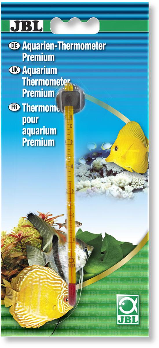 Термометр аквариумный JBL Premium, с точностью измерения 0,5°С, длина 14,5 см101246Термометр JBL Premium предназначен для измерения температуры воды в аквариуме с точностью 0,5°С. Термометр крепится к стенке аквариума на ровную поверхность с помощью присоски. Удобная шкала, позволяет легко считывать показания. Измеряемая температура от 0°C до +50°C.Длина термометра: 14,5 см.