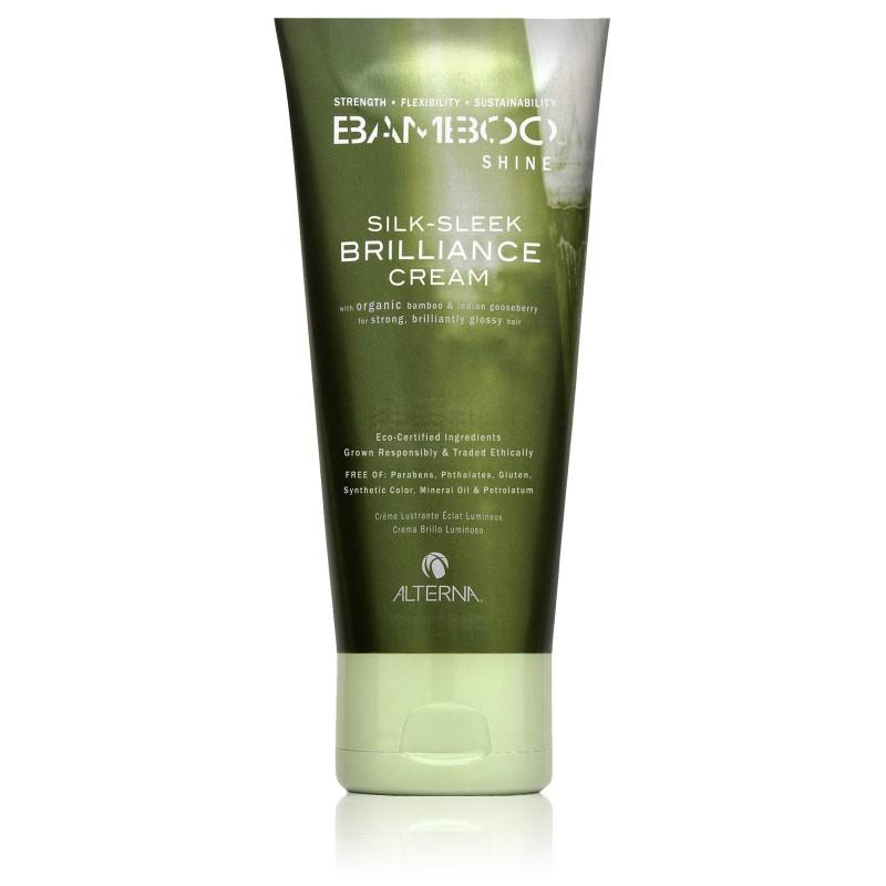 Alterna Bamboo Luminous Shine Silk-Sleek Brilliance Cream - Несмываемый крем для сияния и блеска волос 40 млE1574700Питательная формула разглаживающего крема Альтерна для блеска волос с экстрактом бамбука придает волосам блеск, они выглядят здоровыми и излучают ослепительное сияние. Крем укрощает непослушные волосы и обеспечивает легкий контроль и текстуру. Технология Color Hold® позволяет продлить стойкость цвета и усиливает его насыщенность и яркость. Органический экстракт бамбука моментально усиливает внутреннюю силу и гибкость волос. Повышает устойчивость волос к внешним агрессивным факторам окружающей среды. После применения Alterna Bamboo Shine Silk-Sleek Brilliance Cream, Ваши волосы станут сильными, здоровым и приобретут сияющий блеск. Результат: Смягчает, разглаживает волосы и одновременно укрепляет их структуру. Обеспечивает высочайшую степень защиты волос при укладке. Обладает индивидуальным и приятным ароматом свежего зеленого чая и крыжовника, который дополняют оттенки зеленых листьев, элементы можжевельника и сандалового дерева.