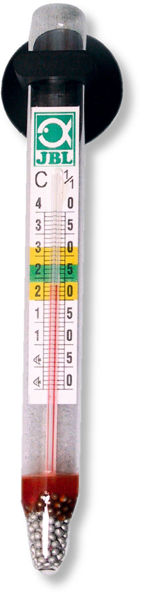 Термометр аквариумный JBL, длина 11 см12171996Термометр JBL предназначен для измерения температуры воды в аквариуме. Термометр крепится к стенке аквариума на ровную поверхность с помощью присоски. Удобная шкала, позволяет легко считывать показания. Измеряемая температура от 0°C до +40°C. Длина термометра: 11 см.