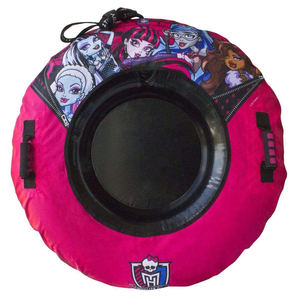 Тюбинг 1toy Monster High, с плотными ручками, диаметр 92 смТ56364Оригинальные надувные санки-тюбинг Monster High с красочным рисунком героев мультфильма, отлично подходят для увлекательного зимнего катания. Внутренняя камера выполнена из ПВХ, наружный чехол из нейлона 420 ден и ламинированного ПВХ.У тюбинга есть специальное место для сидения, две надежные ручки, буксировочный трос.