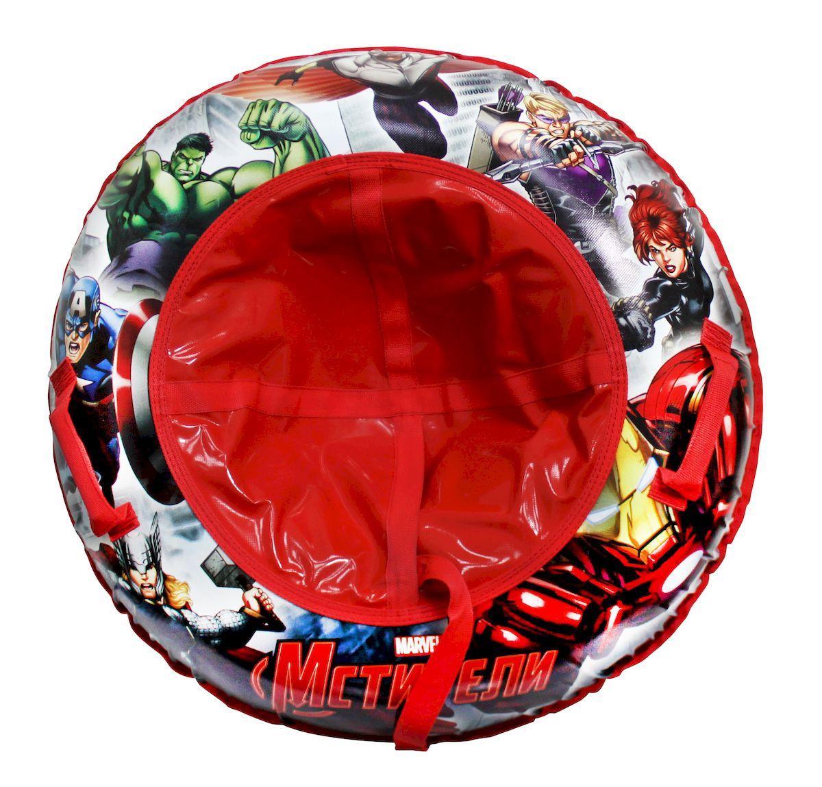Тюбинг Marvel Мстители, с буксировочным тросом, 100 см296Тюбинг (надувные сани) с внутренней камерой из ПВХ и наружным чехлом из нейлона 420 ден и ламинированного ПВХ, буксировочный фал