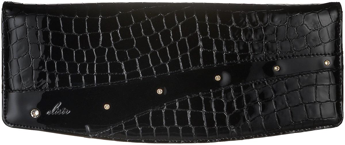 Клатч женский Elisir Ружена, цвет: черный. GS-9-L21-132101225Стильный клатч Elisir и коллекции Руженя выполнен из натуральной кожи. Изделие оформлено тиснением под крокодила. Клатч закрывается клапаном на магнитную кнопку. Внутри изделие содержит одно отделение, в котором предусмотрен накладной карман на молнии. Украшен модель кристаллами Swarovski. Оригинальный аксессуар позволит вам завершить образ и быть неотразимой.