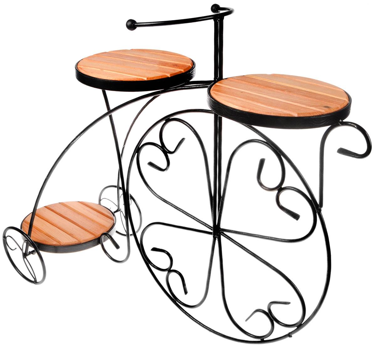 Подставка для цветов Фабрика ковки Велосипед, на 3 цветка, цвет: черный, коричневый. 59-413PANTERA SPX-2RSОригинальная подставка Фабрика ковки Велосипед предназначена для размещения трех цветков, два размещается на верхнем уровне, один на нижнем. Каркас изготовлен из металла, на котором располагаются полки из дерева. Роль ножек исполняют изогнутые прутки, которые сплетаются в форму, повторяющую форму велосипеда, обеспечивая устойчивое расположение цветков. Подставка станет прекрасным дизайнерским решением для украшения дома.Размер подставки: 81 х 32 х 67 см.Диаметр полок: 23 см.