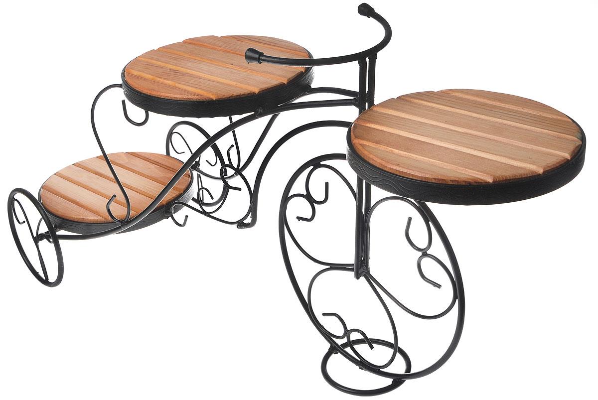 Подставка для цветов Фабрика ковки, на 3 цветка, цвет: черный, коричневый. 59-443Z-0307Оригинальная подставка Фабрика ковки предназначена для размещения трех цветков, два размещается на верхнем уровне, один на нижнем. Каркас изготовлен из металла, на котором располагаются полки из дерева. Роль ножек исполняют изогнутые прутки, которые сплетаются в форму, повторяющую форму велосипеда, обеспечивая устойчивое расположение цветков. Такая подставка станет прекрасным дизайнерским решением для украшения дома.Размер подставки: 85 х 31 х 43 см.Диаметр полок: 24 см.