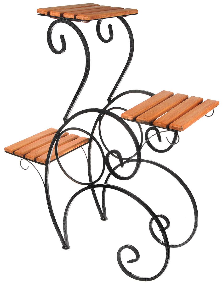 Подставка для цветов Фабрика ковки, на 3 цветка, цвет: черный, коричневый. 59-71359-713Подставка Фабрика ковки предназначена для размещения трех цветочных кашпо. Она выполнена из металлического прутка черного цвета и дерева. Горшки при этом размещаются на разных уровнях, что позволяет создавать удивительные цветочные композиции. Роль ножек исполняют изогнутые стальные прутки, которые обеспечивают устойчивое расположение цветков.Размер подставки: 65 х 25,5 х 78 см.Размер полок: 25 х 19 см.