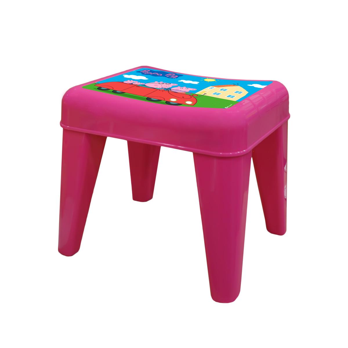 Табурет детский Little Angel Свинка Пеппа. Я расту, цвет: розовыйLA4502РРРЗМебель «Я расту» – это сбывшаяся мечта! Функциональная, яркая, безопасная и очень привлекательная мебель эксклюзивного дизайна. Уникальный декор мебели включает обучающие элементы - с ними малыш легко выучит английский алфавит, цифры а также научится определять время. Преимущества: эксклюзивные декоры с любимыми героями; закругленные углы для безопасности малыша; противоскользящие накладки для безопасного использования на любой поверхности; особо прочная конструкция ножек для надежной и безопасной эксплуатации; выдерживает статическую нагрузку до 100 кг. для стола и до 180 кг. для стула и табурета.