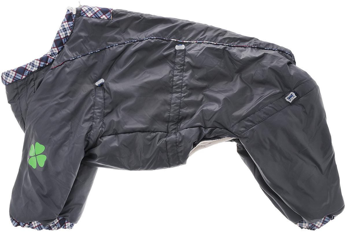 Комбинезон для собак Dogmoda Doggs, зимний, для мальчика, цвет: серый. Размер XL0120710Комбинезон для собак Dogmoda Doggs отлично подойдет для прогулок в зимнее время года.Комбинезон изготовлен из полиэстера, защищающего от ветра и снега, с утеплителем из синтепона, который сохранит тепло даже в сильные морозы, а на подкладке используется искусственный мех, который обеспечивает отличный воздухообмен. Комбинезон застегивается на молнию и липучку, благодаря чему его легко надевать и снимать. Молния снабжена светоотражающими элементами. Низ рукавов и брючин оснащен внутренними резинками, которые мягко обхватывают лапки, не позволяя просачиваться холодному воздуху. На вороте, пояснице и лапках комбинезон затягивается на шнурок-кулиску с затяжкой. Модель снабжена непромокаемым карманом для размещения записки с информацией о вашем питомце, на случай если он потеряется.Благодаря такому комбинезону простуда не грозит вашему питомцу и он не даст любимцу продрогнуть на прогулке.