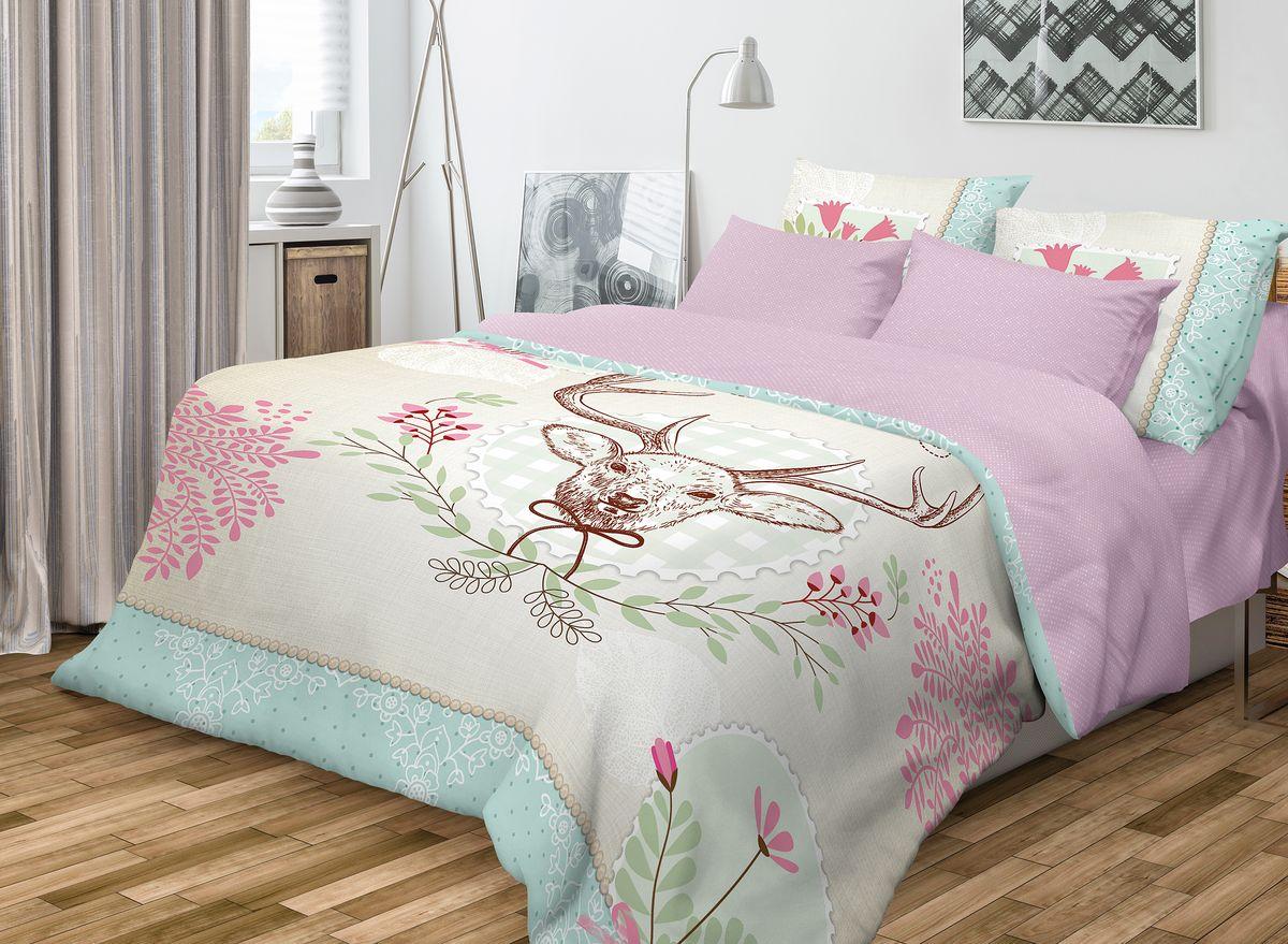 Комплект белья Волшебная ночь Forest, 2-спальный, наволочки 50x70, цвет: сиреневыйRC-100BWCРоскошный комплект постельного белья Волшебная ночь Forest выполнен из натурального ранфорса (100% хлопка) и украшен оригинальным рисунком. Комплект состоит из пододеяльника, простыни и двух наволочек. Ранфорс - это новая современная гипоаллергенная ткань из натуральных хлопковых волокон, которая прекрасно впитывает влагу, очень проста в уходе, а за счет высокой прочности способна выдерживать большое количество стирок. Высочайшее качество материала гарантирует безопасность.Доверьте заботу о качестве вашего сна высококачественному натуральному материалу.