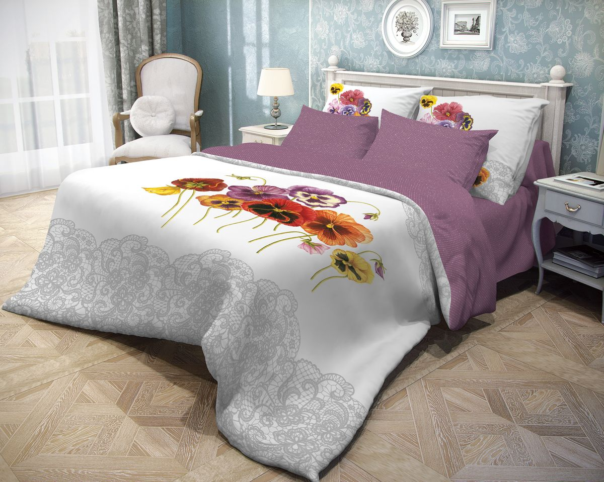 Комплект белья Волшебная ночь Fialki, 2-спальный, наволочки 50x70, цвет: белый, фиолетовый. 70193198299571Роскошный комплект постельного белья Волшебная ночь Fialki выполнен из натурального ранфорса (100% хлопка) и оформлен оригинальным рисунком. Комплект состоит из пододеяльника, простыни и двух наволочек. Ранфорс - это новая современная гипоаллергенная ткань из натуральных хлопковых волокон, которая прекрасно впитывает влагу, очень проста в уходе, а за счет высокой прочности способна выдерживать большое количество стирок. Высочайшее качество материала гарантирует безопасность.