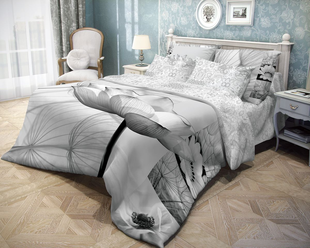Комплект белья Волшебная ночь Poppy, 1,5-спальный, наволочки 70x70, цвет: серый391602Роскошный комплект постельного белья Волшебная ночь Poppy выполнен из натурального ранфорса (100% хлопка) и украшен оригинальным рисунком. Комплект состоит из пододеяльника, простыни и двух наволочек. Ранфорс - это новая современная гипоаллергенная ткань из натуральных хлопковых волокон, которая прекрасно впитывает влагу, очень проста в уходе, а за счет высокой прочности способна выдерживать большое количество стирок. Высочайшее качество материала гарантирует безопасность.Доверьте заботу о качестве вашего сна высококачественному натуральному материалу.