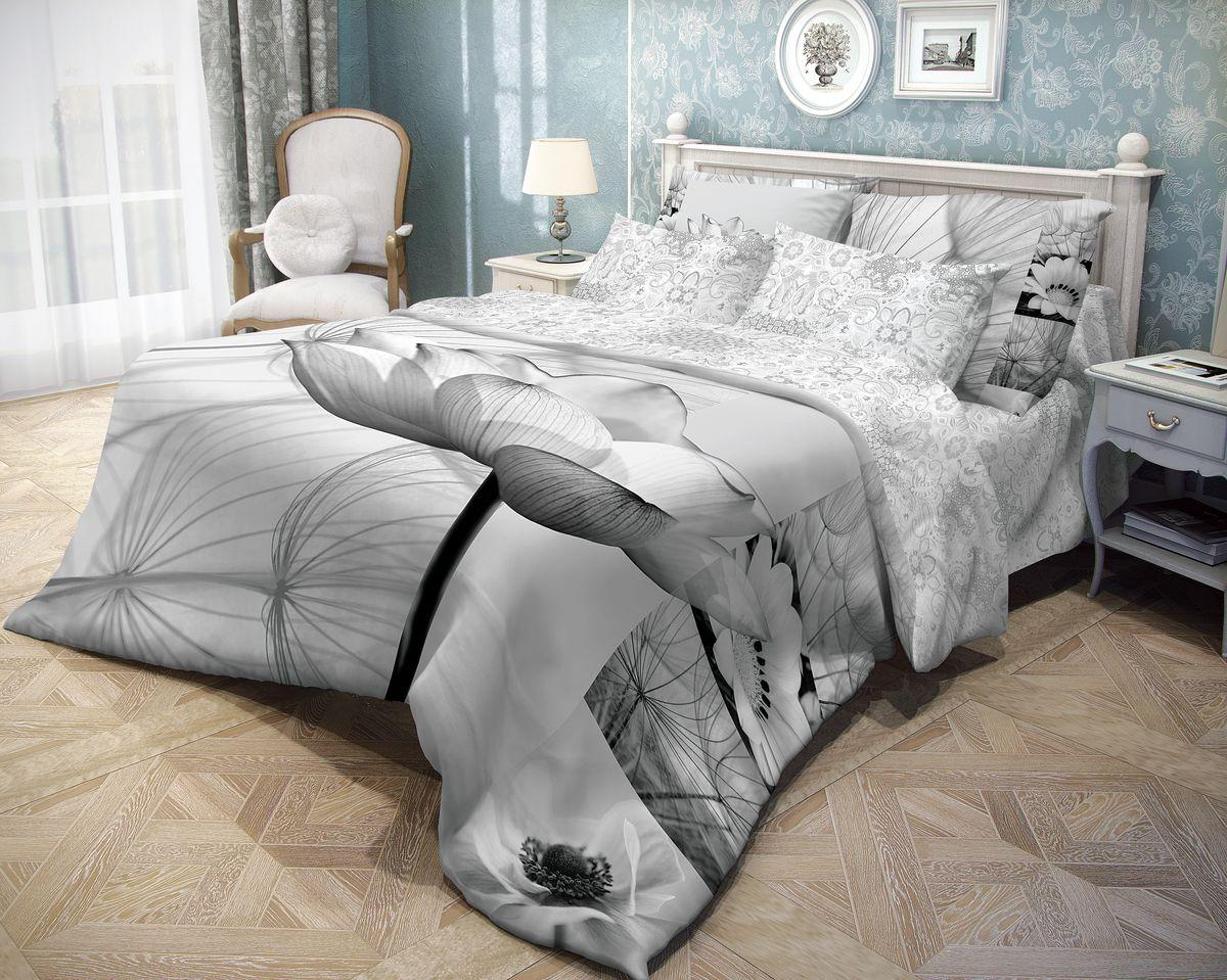 Комплект белья Волшебная ночь Poppy, евро, наволочки 70x70, цвет: серый391602Роскошный комплект постельного белья Волшебная ночь Poppy выполнен из натурального ранфорса (100% хлопка) и украшен оригинальным рисунком. Комплект состоит из пододеяльника, простыни и двух наволочек. Ранфорс - это новая современная гипоаллергенная ткань из натуральных хлопковых волокон, которая прекрасно впитывает влагу, очень проста в уходе, а за счет высокой прочности способна выдерживать большое количество стирок. Высочайшее качество материала гарантирует безопасность.Доверьте заботу о качестве вашего сна высококачественному натуральному материалу.