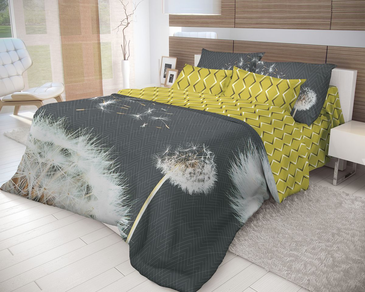 Комплект белья Волшебная ночь Dandelion, 2-спальный, наволочки 50x70, цвет: белый, серый, золотой. 702176702176Роскошный комплект постельного белья Волшебная ночь Dandelion выполнен из натурального ранфорса (100% хлопка) и оформлен оригинальным рисунком. Комплект состоит из пододеяльника, простыни и двух наволочек. Ранфорс - это новая современная гипоаллергенная ткань из натуральных хлопковых волокон, которая прекрасно впитывает влагу, очень проста в уходе, а за счет высокой прочности способна выдерживать большое количество стирок. Высочайшее качество материала гарантирует безопасность.