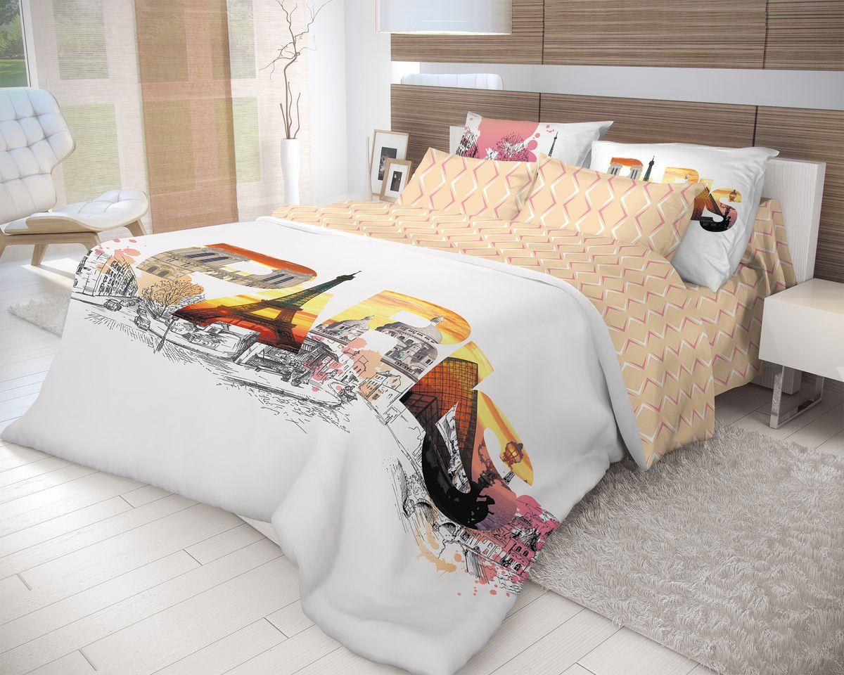 Комплект белья Волшебная ночь Splash, евро, наволочки 50x70, цвет: белый, персиковый. 702199K100Роскошный комплект постельного белья Волшебная ночь Splash выполнен из натурального ранфорса (100% хлопка) и оформлен оригинальным рисунком. Комплект состоит из пододеяльника, простыни и двух наволочек. Ранфорс - это новая современная гипоаллергенная ткань из натуральных хлопковых волокон, которая прекрасно впитывает влагу, очень проста в уходе, а за счет высокой прочности способна выдерживать большое количество стирок. Высочайшее качество материала гарантирует безопасность.