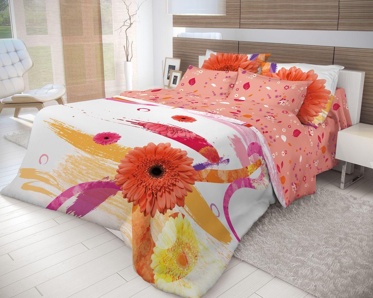 Комплект белья Волшебная ночь Gerbera, 2-спальный, наволочки 70x70, цвет: белый, красный015012255Роскошный комплект постельного белья Волшебная ночь Gerbera выполнен из натурального ранфорса (100% хлопка) и украшен оригинальным рисунком. Комплект состоит из пододеяльника, простыни и двух наволочек. Ранфорс - это новая современная гипоаллергенная ткань из натуральных хлопковых волокон, которая прекрасно впитывает влагу, очень проста в уходе, а за счет высокой прочности способна выдерживать большое количество стирок. Высочайшее качество материала гарантирует безопасность.Доверьте заботу о качестве вашего сна высококачественному натуральному материалу.