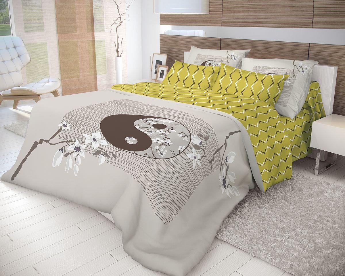 Комплект белья Волшебная ночь Yin Yang, 1,5-спальный, наволочки 70x70, цвет: серый, оливковыйRC-100BWCРоскошный комплект постельного белья Волшебная ночь Yin Yang выполнен из натурального ранфорса (100% хлопка) и украшен оригинальным рисунком. Комплект состоит из пододеяльника, простыни и двух наволочек. Ранфорс - это новая современная гипоаллергенная ткань из натуральных хлопковых волокон, которая прекрасно впитывает влагу, очень проста в уходе, а за счет высокой прочности способна выдерживать большое количество стирок. Высочайшее качество материала гарантирует безопасность.Доверьте заботу о качестве вашего сна высококачественному натуральному материалу.