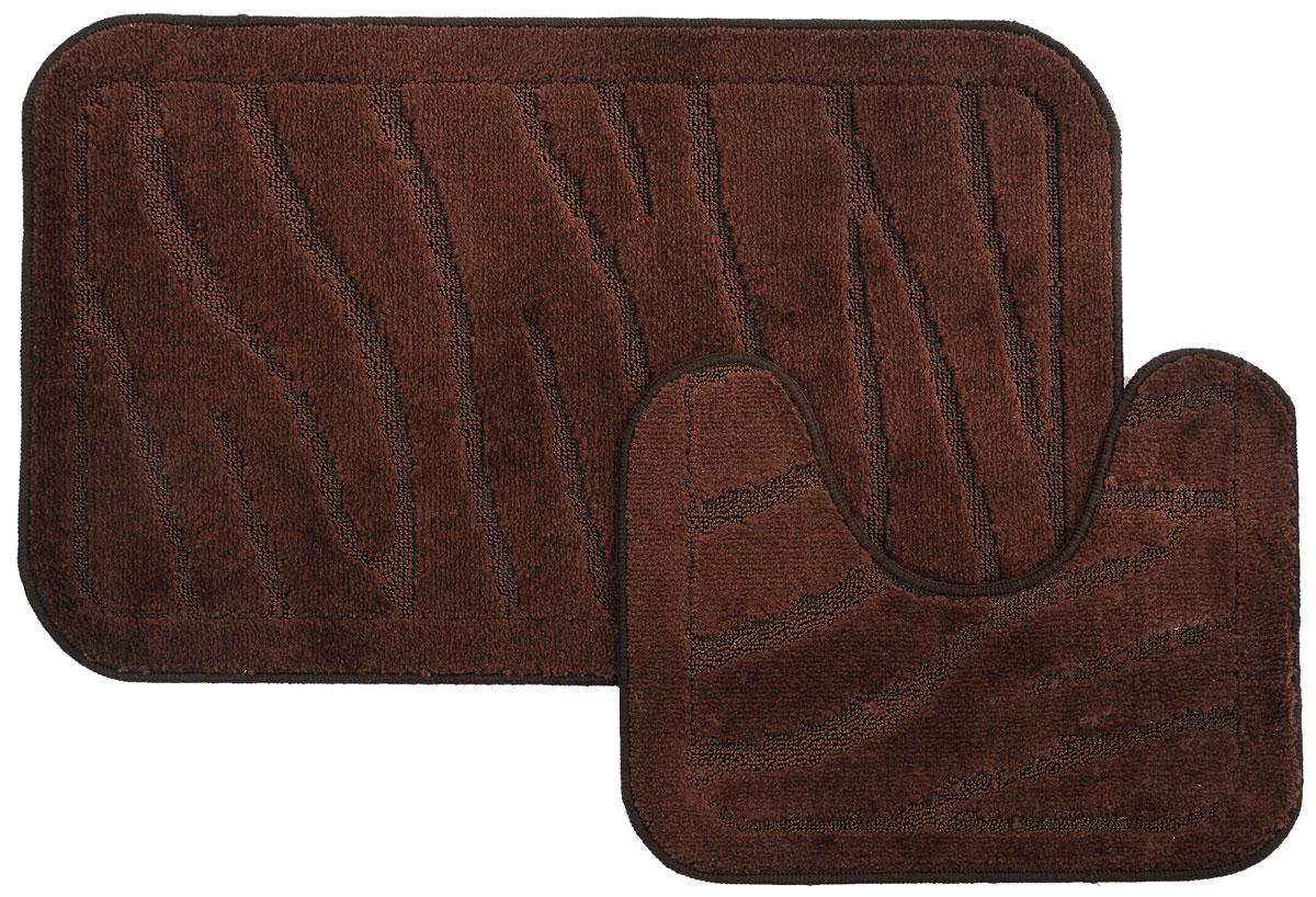Набор ковриков для ванной MAC Carpet Рома. Линии, цвет: коричневый, 50 х 80 см, 50 х 40 см, 2 шт391602Набор MAC Carpet Рома. Линии, выполненный из полипропилена, состоит из двух ковриков для ванной комнаты, один из которых имеет вырез под унитаз. Противоскользящее основание изготовлено из термопластичной резины. Коврики мягкие и приятные на ощупь, отлично впитывают влагу и быстро сохнут. Высокая износостойкость ковриков и стойкость цвета позволит вам наслаждаться покупкой долгие годы. Можно стирать вручную или в стиральной машине на деликатном режиме при температуре 30°С.