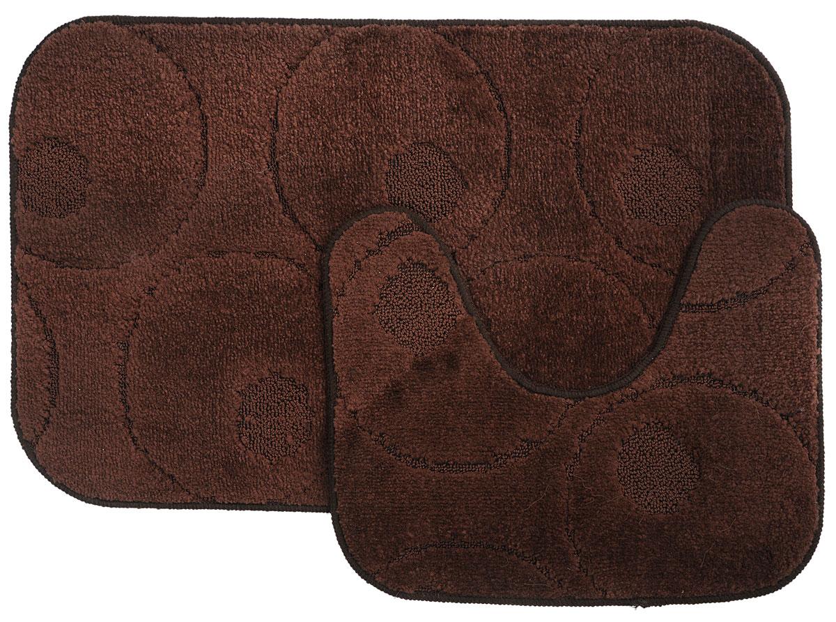 Набор ковриков для ванной MAC Carpet Рома. Круги, цвет: темно-коричневый, 50 х 80 см, 50 х 40 см, 2 шт11649Набор MAC Carpet Рома. Круги, выполненный из полипропилена, состоит из двух ковриков для ванной комнаты, один из которых имеет вырез под унитаз. Противоскользящее основание изготовлено из термопластичной резины. Коврики мягкие и приятные на ощупь, отлично впитывают влагу и быстро сохнут. Высокая износостойкость ковриков и стойкость цвета позволит вам наслаждаться покупкой долгие годы. Можно стирать вручную или в стиральной машине на деликатном режиме при температуре 30°С.